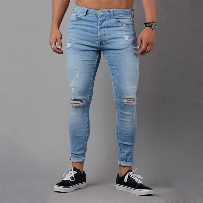 SHUJIN Mens Ripped Mid-waist  Jeans High Street Trousers Male Denim Pencil Pants man jeans brand 2019 vaqueros hombre