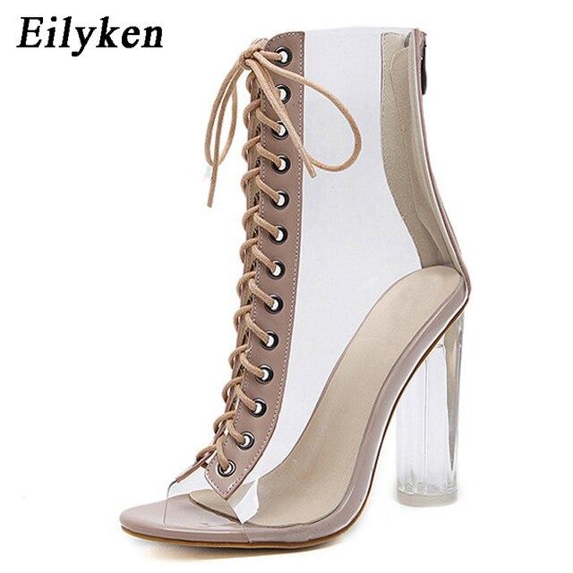 Eilyken 2019 nuevo Sexy PVC transparente gladiador sandalias Peep Toe Shoes Clear gruesas tacones sandalias mujeres botas sandalias