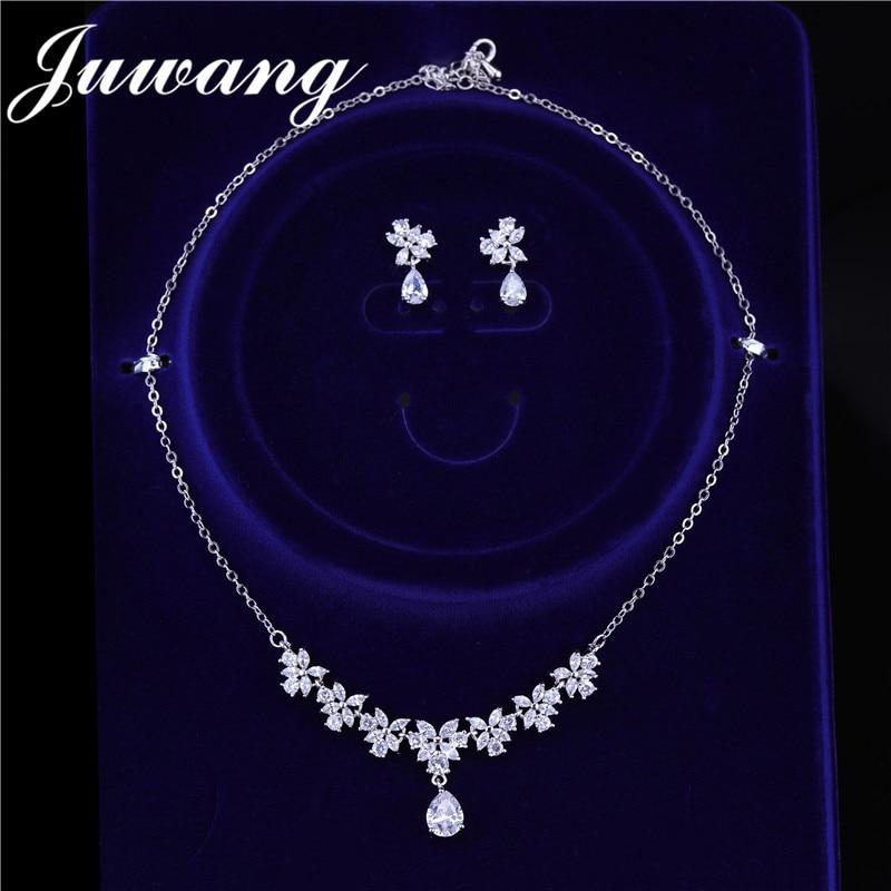 JUWANG-colliers et boucles d'oreilles de marque CZ 0 fleur en cristal pour mariée, mariage, boucles d'oreilles, couleur argent, Dubai, ensembles de bijoux pour femmes