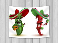 Cartoon Decor Tapestry Cosmetic Cactus Dance With Mexican Hat With Musical Instrument Guitar And Shakeree Designed PrintWall Art