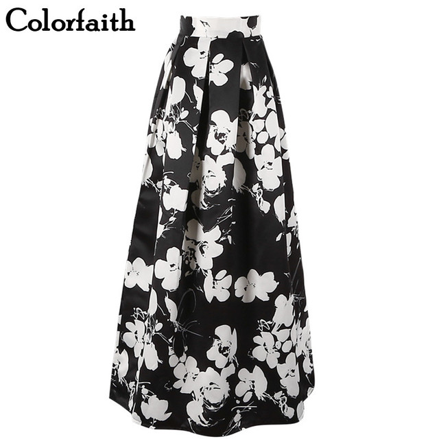 3bbb86d0b3 Women 100cm High Waist Maxi Skirts Vintage Black White Floral Print Pleated  Floor-Length Flare Long Skirts Saias SP002