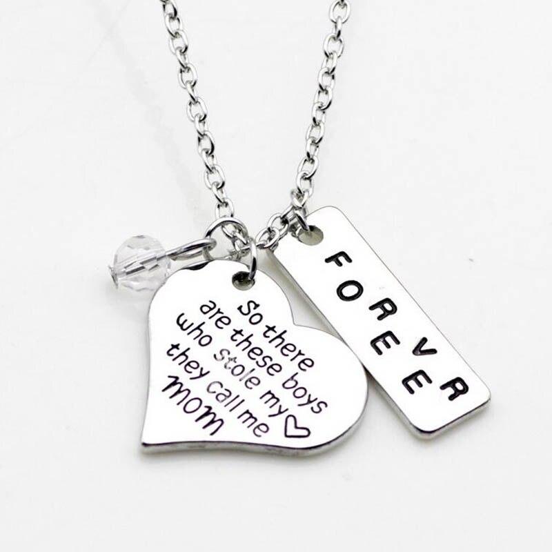Мода Сердце ожерелье ручной печатью так вот этот мальчиков кто украл мое сердце, они называет меня мамой навсегда ожерелье 10 шт.