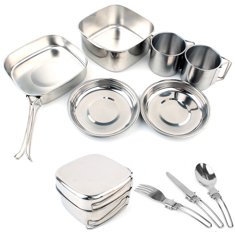 Outdoor camping pot stainless steel set of 6 Picnic lunch box with folding utensils camping frying panOutdoor camping pot stainless steel set of 6 Picnic lunch box with folding utensils camping frying pan