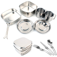 Outdoor camping pot stainless steel set of 6 Picnic lunch box with folding utensils camping frying pan