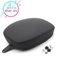 Black Motorcycle Passenger Rear Seat Pad Leather Pillon For Harley Sportster XL 1200 883 72 48