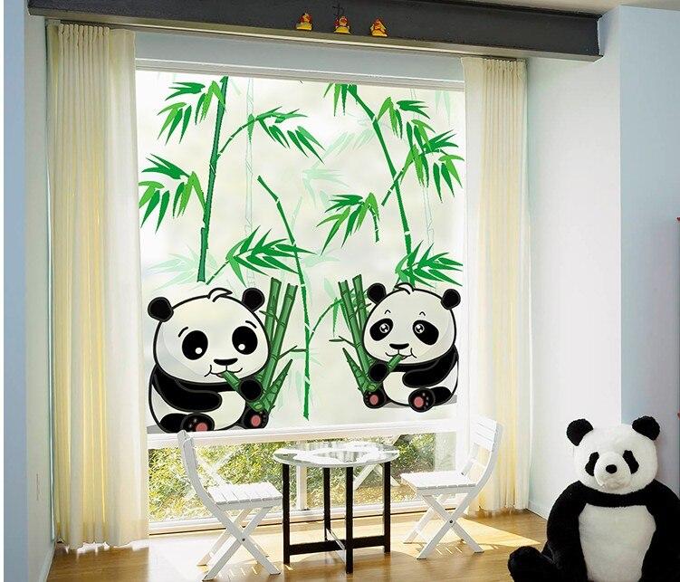 Taille personnalisée fenêtres verre Film porte autocollants mode autocollant Art translucide statique s'accrochent (pas de colle) Panda bambou