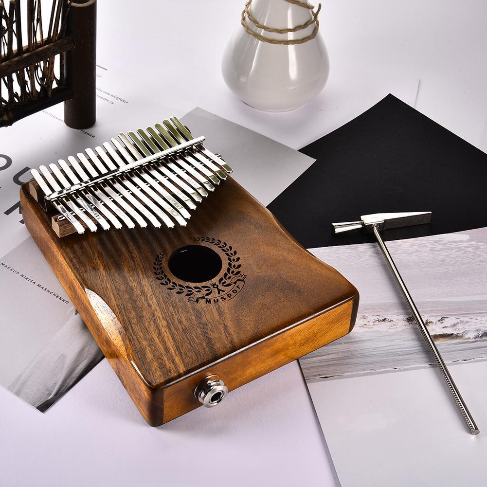 Brand New 17 Keys EQ Kalimba Mbira Calimba Solid Acacia Thumb Piano Link Speaker Electric Pickup with Bag +3 M Cable