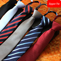 2016 Nuevas Llegadas Forman 6 cm Flaco Cremallera Wedding Gravata Gravatas Corbata Lazos para Los Hombres Diseñadores Marcas de Rayas Delgado Fácil empate