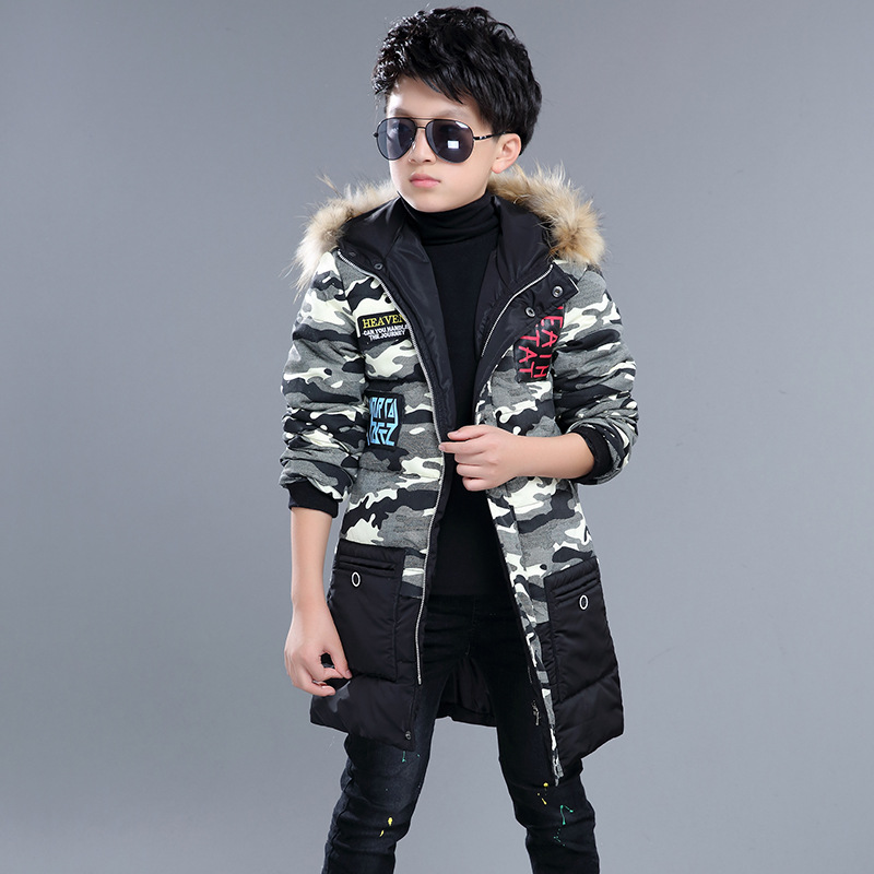2017 New 7-14 Year Boys Winter Coats Warm Casual Fashion Children Hooded Outerwear Boys Down Jacket Camouflage Coats new winter women long style down cotton coat fashion hooded big fur collar casual costume plus size elegant outerwear okxgnz 818