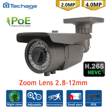 Techage H265 Mini CCTV POE 2.8-12mm Zoom IP Camera 2.0MP 4.0MP 48V Power Over Ethernet IR ONVIF Security Surveillance Cam IPC
