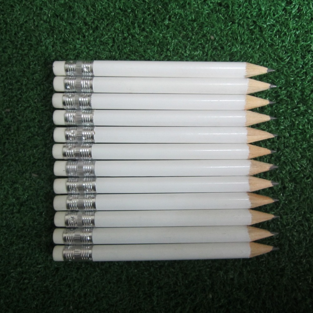 Image 2 - 12 dozens 144pcs white color 3.5 inch half length 100mm blank logo round wooden material eraser golf pencil-in Golf Training Aids from Sports & Entertainment
