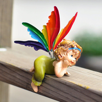 Creative maison mignon enfants de maison décorations ange suspendus pieds poupée de résine fenêtre tuiles petit ornements artisanat