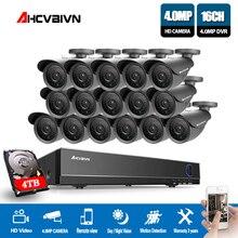 16CH 4MP AHD DVR рекордер наружная камера система безопасности комплект шт. 16 шт. 4MP IR Всепогодная камера видеонаблюдения s 16 канальный DVR комплект
