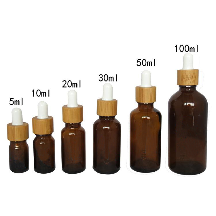 5/10/15/20/30/50/100ml Empty Bamboo Amber Glass Essential Oil Dropper Bottle with glass pipette Cosmetic Essence Pack Container 2x30ml skull shape glass dropper bottle e juice head glass eliquid dropper bottle glass dropper bottle jars vials with pipette