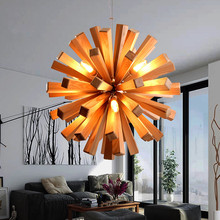 Modern Nordic Wooden Dandelion Lustres Pendant Lights LED G9 Bulb Pendant Lamps Living Room Restaurant  Luminaire Light Fixtures