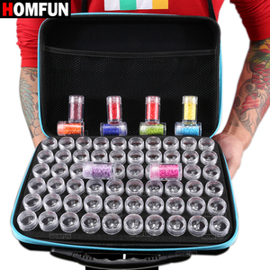Image 2 - HOMFUN 60 Bottles Diamond Painting Box Tool Container Storage Box Carry Case Holder Hand Bag Zipper Design Shockproof Durable