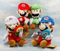 "Free Shipping Super Mario Plush 4 Model/set 7"" Holding Mushroom & Flower Louis & Marie Plush Toys Soft Stuffed Dolls SMPD101"