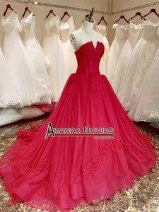Image 2 - Платье на свадьбу, красное вино, со шнуровкой сзади, реальные фотографии, 2019