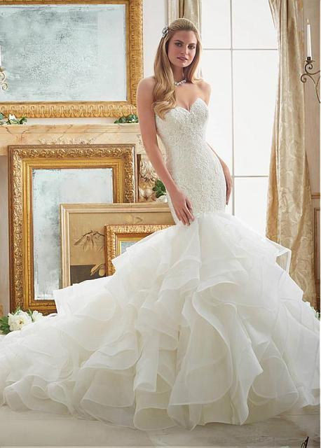 Wonderful Tulle & Organza Mermaid Wedding Dresses With Lace ...