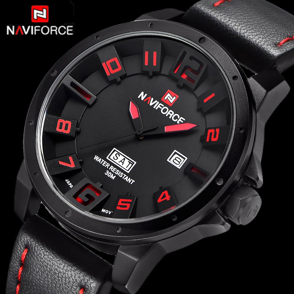 Prix pour Hommes Montres NAVIFORCE Marque Militaire Reloj Quartz Analogique 3D Visage En Cuir Armée De Mode Horloge Montre de Sport Relogios Masculino