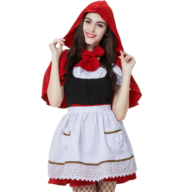 Sexy Red Riding Hood Costume Cloak Cosplay Fantasia Carnival Lady Fancy Dress Party -6209