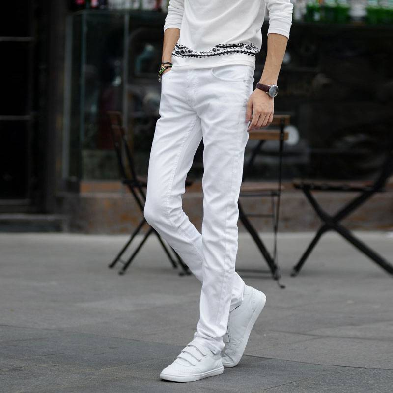 #1420 Thin Spring 2016 White jeans men Elasticity Casual jeans hommes Slim fit Skinny jeans men Famous brand men Distressed