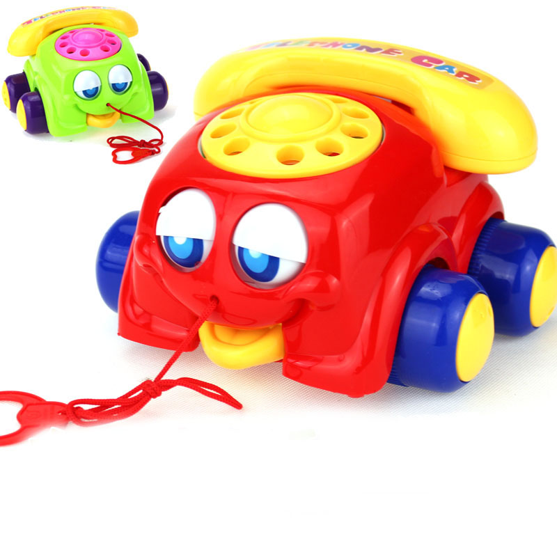 Children's Phone Toy Pull Car Learn Crawl Baby Phone Musical Toys For Children Infant 1-2 Years Old Phones Musical Toys