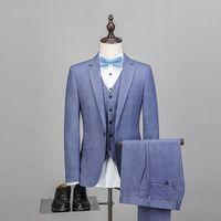 Men's Suit 2018 New Design High Quality Wedding Jacket+Vest+Pants 3pcs Set Business Man Slim Fit Meeting Suits Cheap