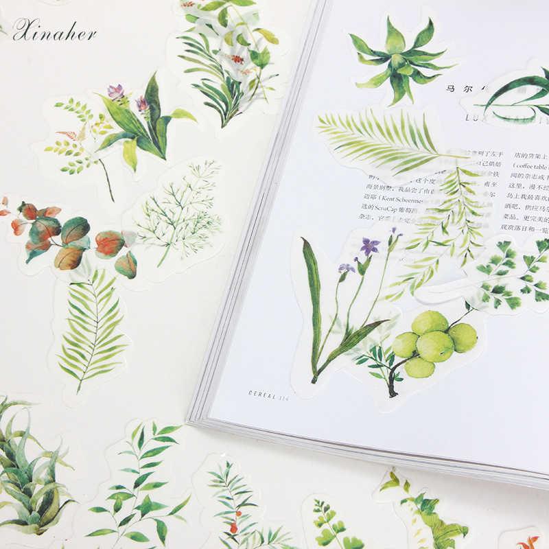 XINAHER 34 adet/grup Retro Dikim Yeşil Bitkiler Yaprak çim Etiket Çıkartmaları Dekoratif Çıkartmalar Scrapbooking DIY Günlüğü Albümü