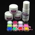 12 unid de acrílico de color en polvo + Líquido 75 ml Acrílico Set de Uñas Postizas de Acrílico Art Salon Herramienta Profesional Rusia Envío gratis