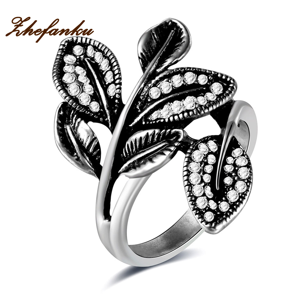 ZheFanku Brand Antique Jewelry Black Crystal Rhinestone Big Rose Flower Rings For Women Romantic Vintage Jewelry