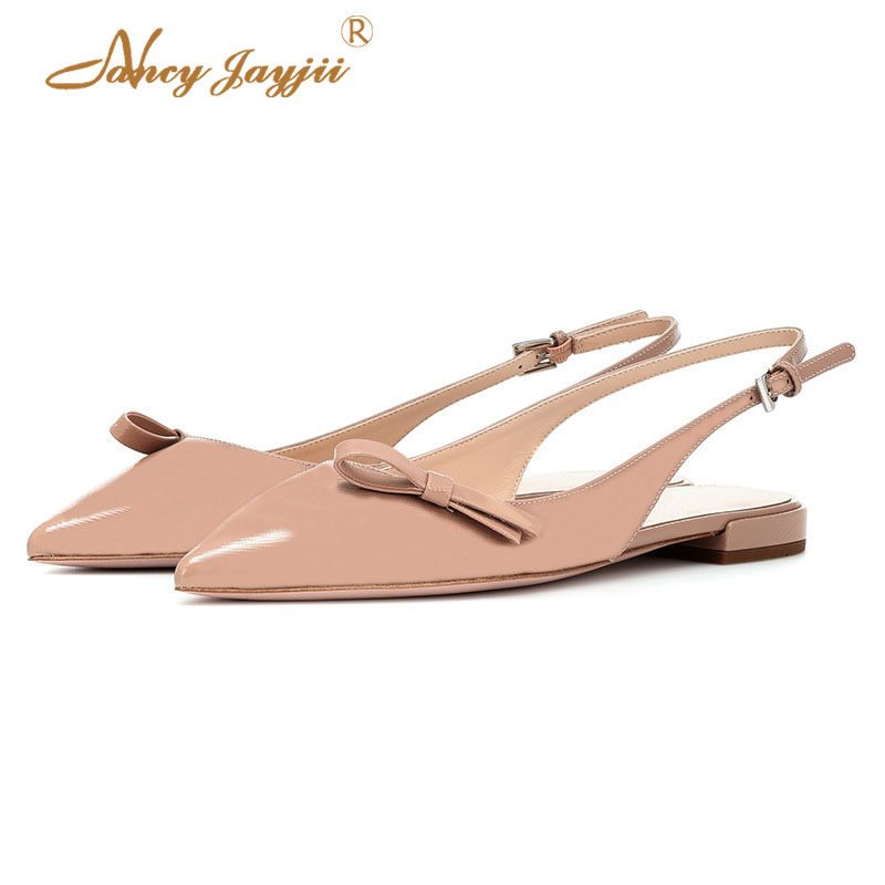 5e85579e210 Cute Slingbacks Ballet Flats Bow Nude Big Size 7 8 15 Casual Ladies Shoes  Woman Spring 2019 Pointed Toe Buckle Dress Party Sexy