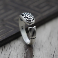S925 Sterling Silver Jewelry Thai Silver Retro Fish Shape Hollow Peony Flower Ring Open Adjustable Ring