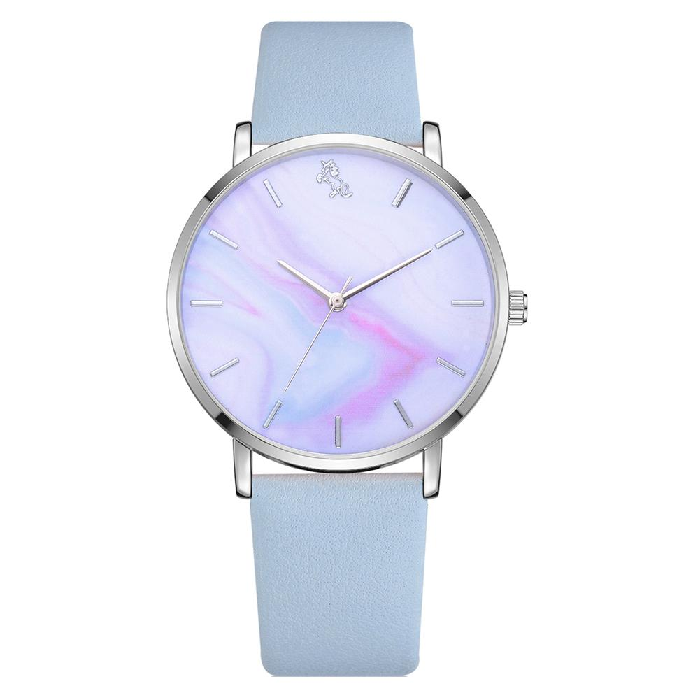 Women Clock Elegant Multicolor Horse Round Dial Quartz Analog Reloj Mujer No Numbers Wrist Watch Zegarek Damski