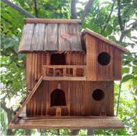 25*25*16 cm extérieur bois oiseaux nid conservateur décoration oiseau maison en bois oiseau cage oiseau boîte jouets CW074