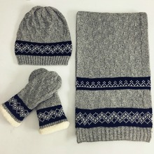 Fall and Winter Warm Knitted Cap Scarf Glooves sets for Man