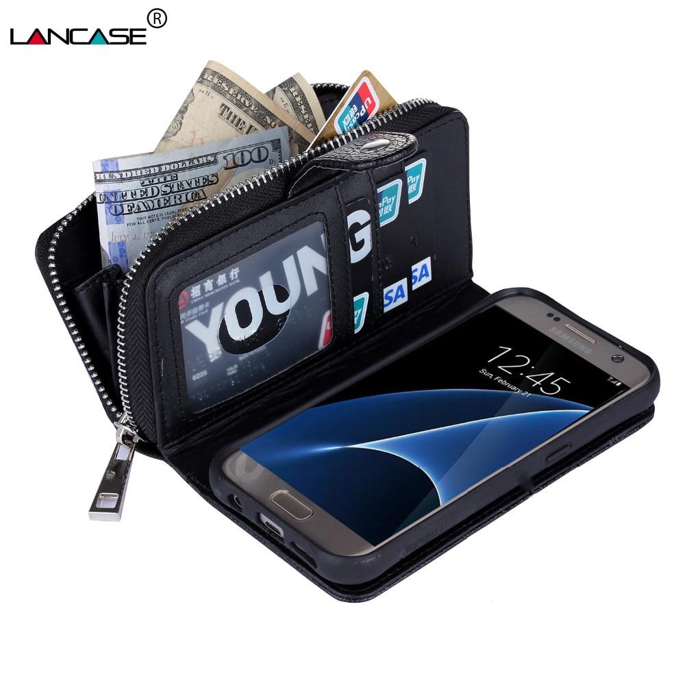 LANCASE För Samsung S6 Fodral Lyx 2 i 1 Plånbok Flip Fodral För - Reservdelar och tillbehör för mobiltelefoner