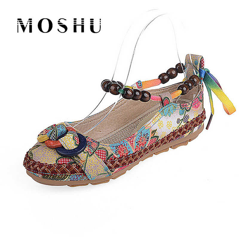 Women Summer Casual Flat Shoes Retro Floral Flats Beaded Ankle Straps Loafers Zapatos Mujer Embroidered Shoes Plus Size 42 vintage embroidery women flats chinese floral canvas embroidered shoes national old beijing cloth single dance soft flats