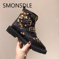 SMONSDLE/Новые модные дизайнерские женские Ботинки martin, черные женские ботильоны из натуральной кожи с металлическими заклепками, осенне зимня