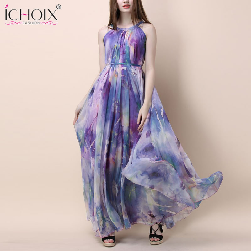 Summer Vintage Long <font><b>Dress</b></font> for <font><b>Women</b></font> <font><b>Sexy</b></font> Sleeveless Floral Print Maxi <font><b>Dresses</b></font> <font><b>Fashion</b></font> Boho <font><b>Elegant</b></font> Floor length Party vestidos image