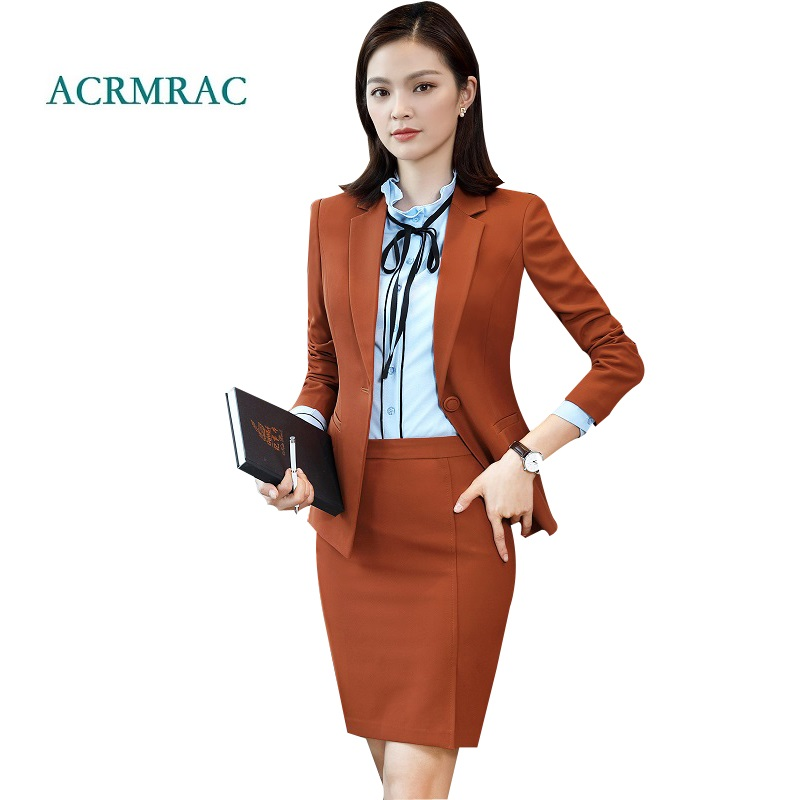 ACRMRAC Women's suit New Spring and autumn Solid color Slim Blazers skirt Business OL Formal Skirt Suits 8310
