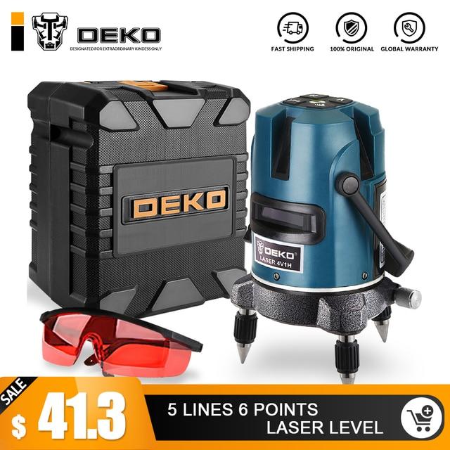 DEKOPRO 5 линий 6 очков лазерный уровень 360 вертикальный и горизонтальный роторный крест Лазерная линия выравнивания с наружным режимом