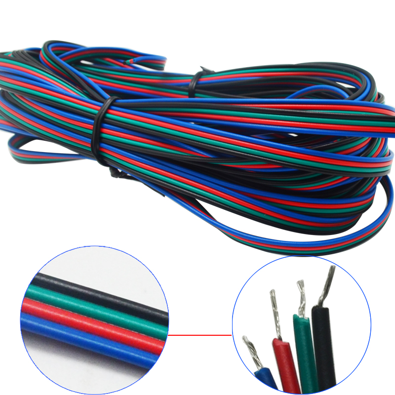 Electrical wiring lighting accessories on aliexpress com buy 20m 4 pin led connector rgb cable wire Light Switch Home Wiring Diagram Wiring Lights