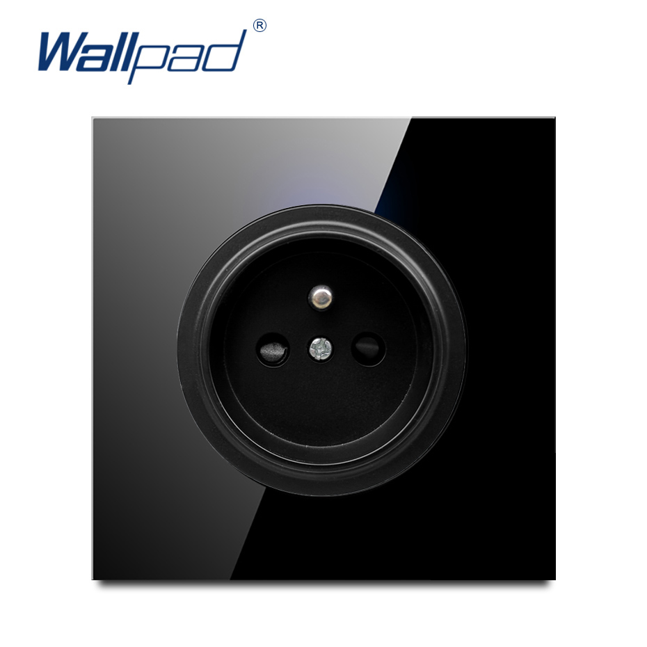 Wallpad 2019 New Arrival Crystal Glass Panel 16A EU French Standard Wall Power Socket Outlet Grounded With Child Protective Lock