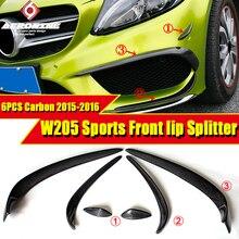 W205 Sports Front Lip Splitters Wing Spoiler Air Flow Vent Carbon 6 pcs C180 C200 C63AMG look Canards Spoilers 2015-2016