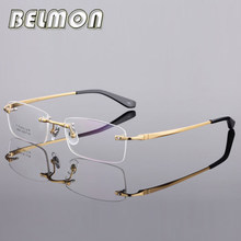 c8e4a831a91b7 Armação de Óculos Homens Computador Vidros do Olho Óptico óculos Limpar  Lens Armação Sem Aro de Titânio Puro Para O Sexo Masculi.