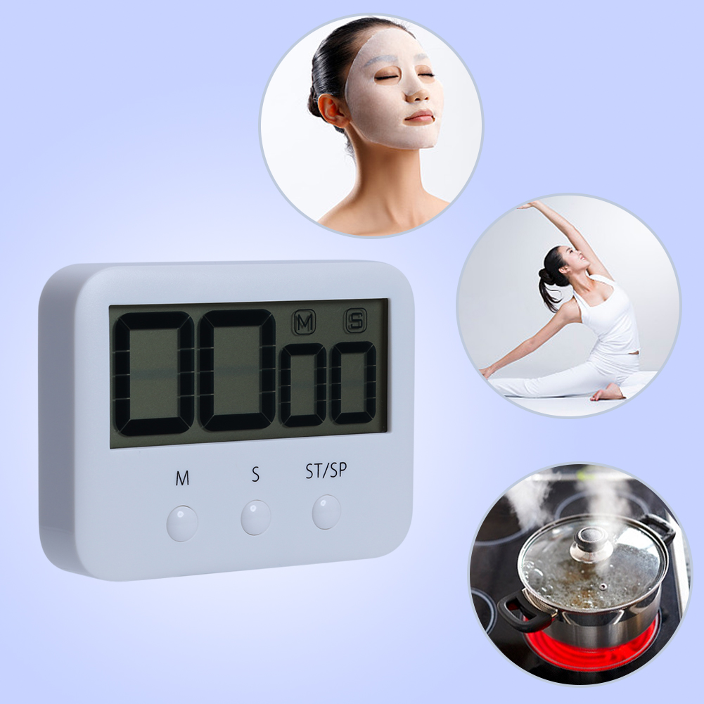 1 Piece White Kitchen Clock Pocket Digital LCD Screen Countdown Cooking Timer Sport Count-Down Up Clock Alarm Reminder