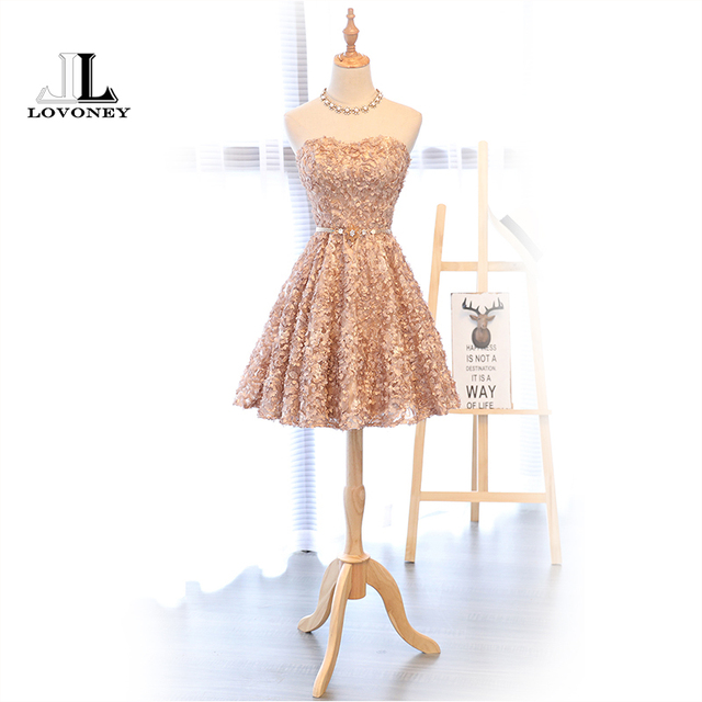LOVONEY XYG702 A-Line Sweetheart Short Prom Dresses 2019 Sexy Backless Lace-Up Knee-Length Party Dresses Prom Gown Real Photos 3