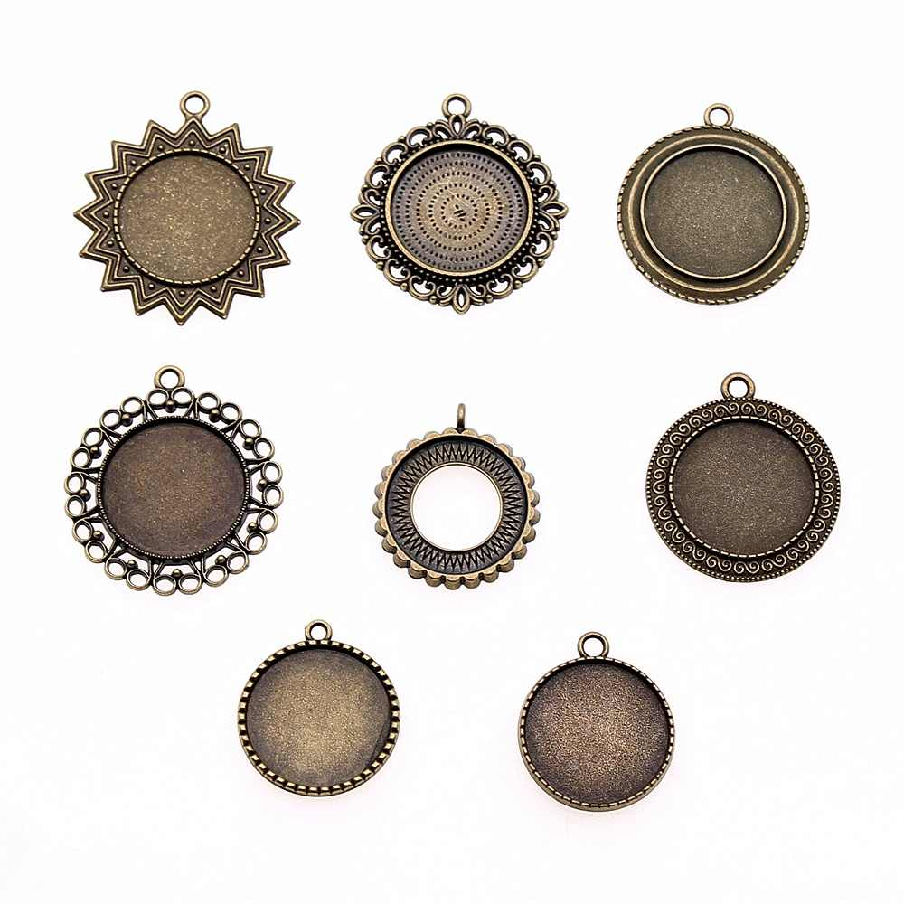 6pcs/lot Fit 25mm Round Glass Cabochon Base Setting Pendant Tray For Jewelry DIY Making Antique Bronze Color FM1034