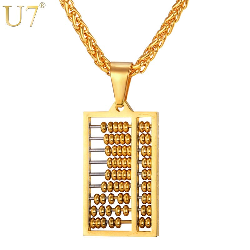 U7 Abacus Necklace Gold Color Stainless Steel Ancient